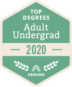 Top Degrees Awards badge for adult undergraduate programs in 2020