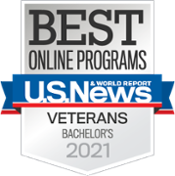 Top Degrees Awards badge for online bachelor's programs for veterans in 2020